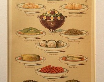 Antique Victorian 1898 Bookplate Mrs Beeton's Culinary VEGETABLES Cookery Chromolithograph Print 1890s