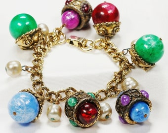 Huge Jeweled Bauble Charm Bracelet