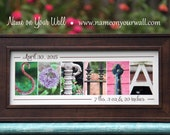 3-11 Letters - Personalized Framed Alphabet Photography Artwork with Color Photos - 7.5x16 inches