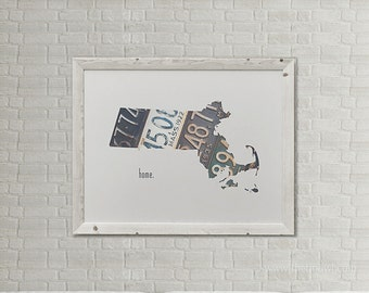 Massachusetts Home Print | State Outline | Vintage License Plates Photograph | Home Decor | Roots | Boston Bay State Art