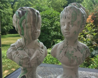 Vintage Plaster Statues Boy and Girl Bust Garden Decor Figurine