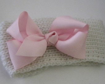Baby Toddler Winter White Knit Headband Head Wrap Ear Warmer with a Adorable Pink Grosgrain Bow Baby Hats Headbands Baby Winter Ear Warmers