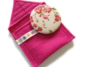 Bright Pink felt cosmetic pocket mirror  pouch with mirror- fabric covered handbag mirror