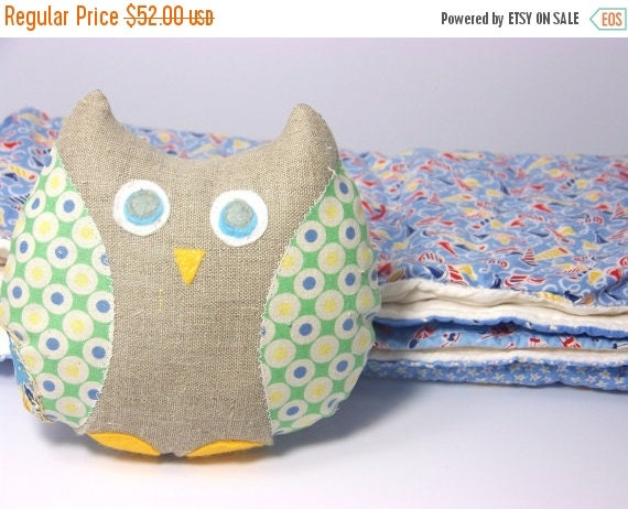 CHRISTMAS In JULY SALE Owl Stuffed Animal and Blanket Set - Baby Shower Gift