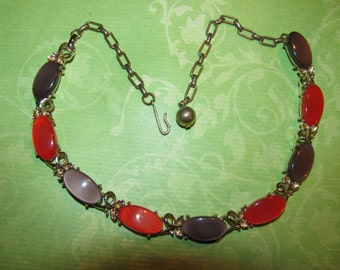 Vintage Gold Tone Orange And Brown Thermoset Plastic Necklace