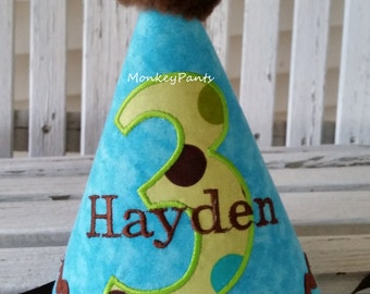 Boys Birthday Hat - All Ages Birthday Hat - Boys Party Hat - Custom Made - Personalized