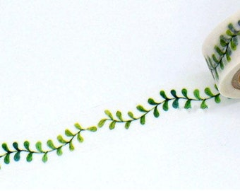 DIY Removable Adhesive Masking Deco Washi Tape - Green Olive Leaf  (1.5 cm Width)