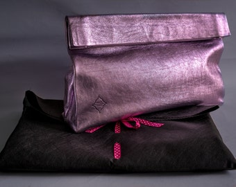 Leather Purse. Handmade. Metallic Rose Leather Clutch. Lunch Bag. Evening bag. Bags and Purses. New trend Paper Bag. Ready to ship