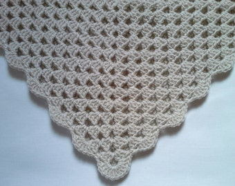 Crochet Baby Blanket, Afghan, Nursery Bedding White Blue Baby Blanket, Baby Boy Christening, Baptism gift