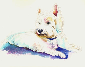 west highland terrier painting - original watercolor