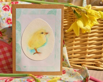Easter card - chick and egg hand painted greeting card