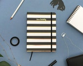 Black Stripe Gold Foil Personalized Notebook/Sketchbook