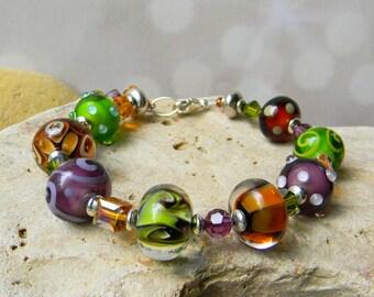 Vineyard Harvest - Artisan Lampwork Bracelet - Olive, Purple, Brown Lux