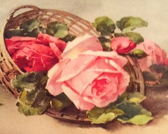 Antique Greetings Postcard, Basket of Roses, Switzerland, Paper SPRING SALE