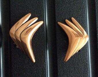 Modernist Copper Earrings, 1960s Vintage Jewelry, SUMMER SALE