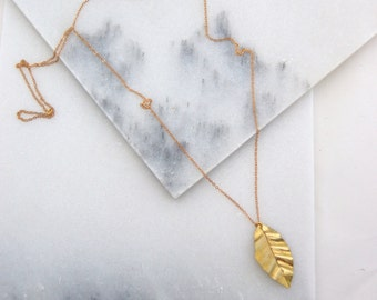 Hand Forged Brass Leaf Necklace