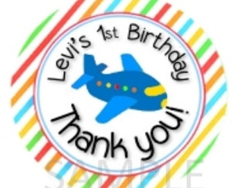 Custom Airplane Birthday Thank You Gift Tag/Stickers - Print Your Own