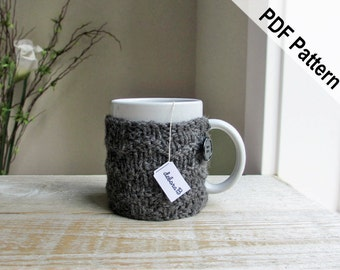 Coffee Cozy PATTERN, Knitting Pattern, Coffee Mug Cozy Pattern, Chevron Pattern, Instant Download