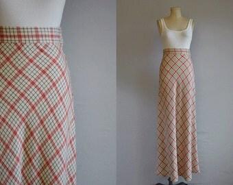 Vintage 1970s Maxi Skirt / 70s Wool Bias Plaid Maxi Skirt / Cream Red