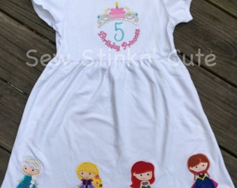 Machine Embroidered/Appliqued Princess Birthday Dress