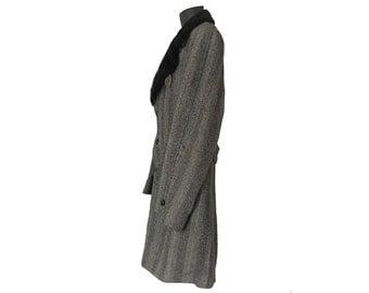 Faux Fur Coat Men Wool Coat Men Fur Collar Men Winter Coat Black Winter Coat Men Car Coat Men Tweed Coat Wool Herringbone Coat Pimp Coat 70s