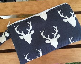 Insulated Reusable Snack Bag in Navy Deer