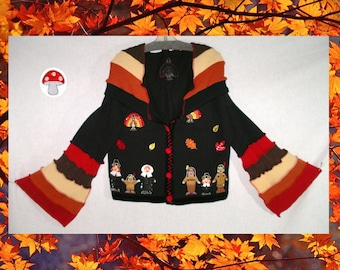 Turkey Day Elf Hoodie Size Extra Large XL Bell Sleeve Recycled Sweater Cardigan Thanksgiving Pilgrims American Indians Fall Leaves Autumn