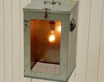Vintage Cricket Cage Light, Pendant Light, Unique Hanging Light, Vacation Cabin Light, Bait Box Light, Hanging Light, Funky Light Fixture