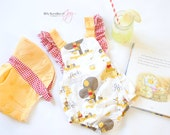 Winnie the Pooh Vintage Style Romper Sunsuit with Ruffle Straps and Bow on the Back and Sun Bonnet Sun Hat
