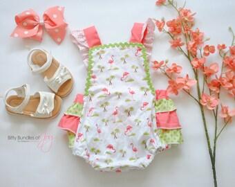"Baby Romper with Ruffles - Flamingo Birthday Outfit - ""Be a Flamingo"" Romper - Tropical Baby Outfit - Tropical Flamingo Romper"