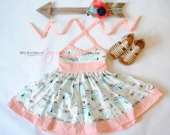 "Girls Aztec Indian Halter Dress - Tribal Dress - Southwest Dress - Arrow and Teepee Dress - ""Arrowhead"" Dress"