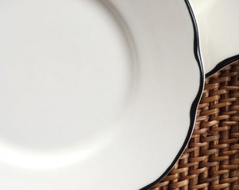 Bread Plate with Scalloped Edge Black Line, Manhattan by Buffalo China ca. 1980s