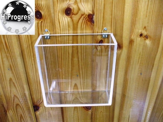 Acrylic Box To Hang On Wall : Square acrylic open lidless wall hanging box different sizes