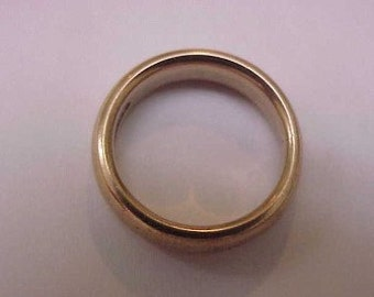 Estate 14K Yellow Gold Wedding Band Comfort Fit Ring 5mm 2.5mm Thick Round, Size 6 1/2