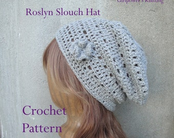 Roslyn Slouch Hat Crochet Pattern, Easy Crochet Lace Design, Beanie Hat Toque, Women & Teen Girls