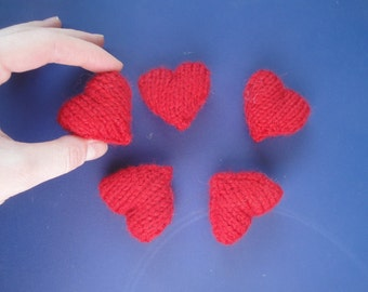 Plush Amigurumi Hearts, Handful of Hearts, Sweet Hearts, Set of 5 Knit Hearts, Cute Kawaii