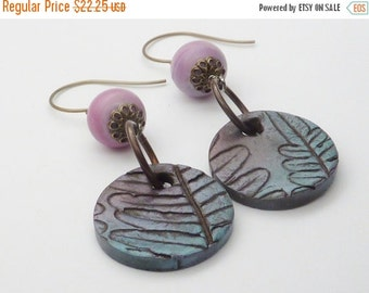 10% off entire store Lilac and Patina Polymer Clay & Lampwork Earrings . by Lori Davidson