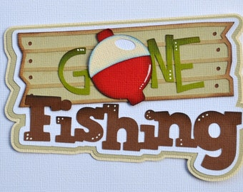 CraftECafe Premade Scrapbook Page Layout Gone Fishing Title Embellishment
