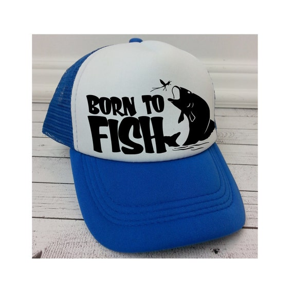 Born to fish hat kids hats trucker hat for kids foam mesh for Youth fishing hats