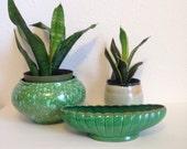 Vintage Planter, Green Oblong Planter, Made in Japan, Ceramic Planter, Succulent Planter, Vintage Dish