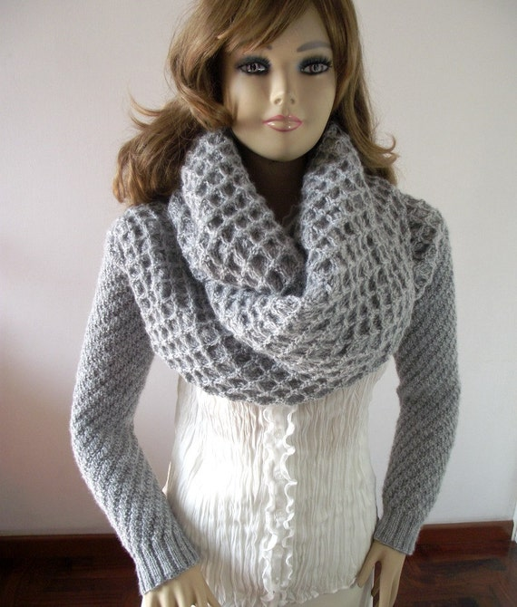 Knitting Pattern For Scarf With Sleeves : KNITTING PATTERN Scarf with Sleeves Big Cowl by LiliaCraftParty