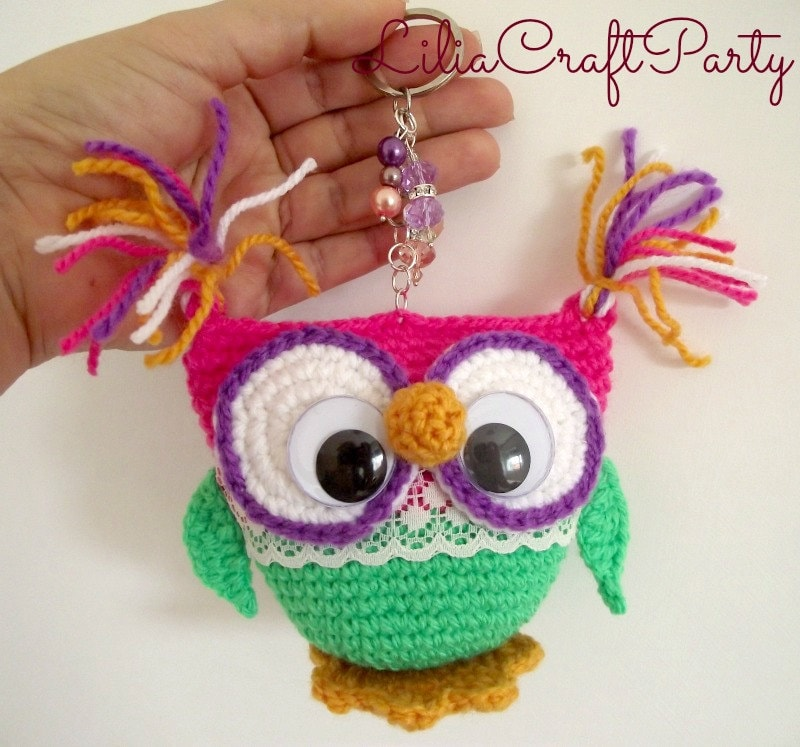 Amigurumi Owl Keychain : Crochet Pattern OWL Keychain AMIGURUMI Crocheted Owls Toy pdf