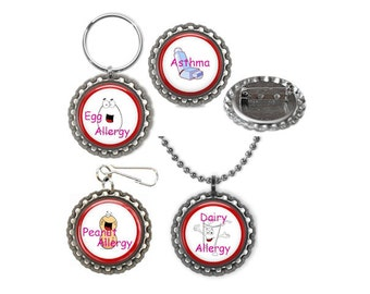 Medical Alert Diabetes Asthma Egg Peanuts Shell Fish Insect Sting Pins Necklace Zipper Pull Keyring