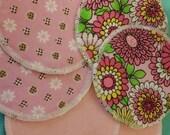 6 reusable flannel cotton nursing pads for bra A B C D DD nursing breastfeeding - flower power aith a side of daisy