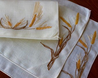 Vintage Linen 2 Placemats Runner Pale Yellow Hand Embroidery Wheat Place Mats PLUS