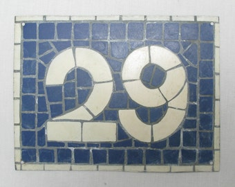 House Number Plate No. 29, Original French Blue and White Sign, Mosaic Signs, French Signs, French House Number Plate, Blue and White Signs