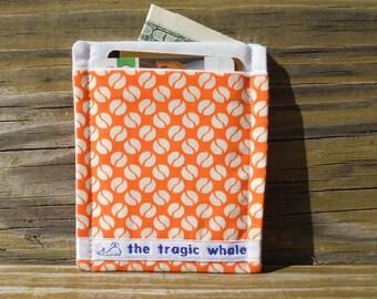 Card Sleeve, Minimalist Wallet, Orange Polka Dot Wallet, Orange Spot Wallet, Cloth Wallet, One of a Kind
