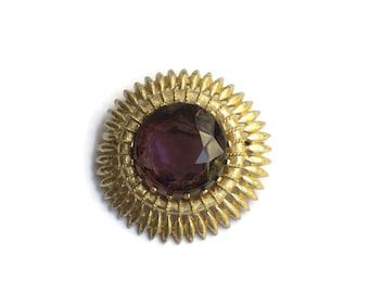 Large Vintage Statement Sunburst Brooch- Faceted Purple Gem With Golden Edging