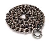 RESERVED Victorian Silver Book Chain / Locket Chain Belcher Links