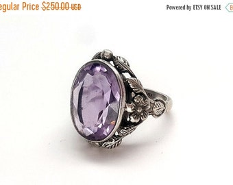 SALE Gorgeous Arts & Crafts 7.75-8ct Amethyst Shiptonia Sterling Silver Ring